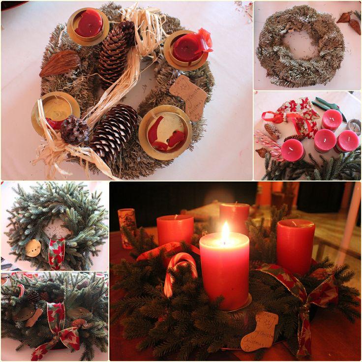 Enjoying the 1st #Advent with my upcycled #christmas wreath * Einen #Adventskranz in Spanien zu besorgen ist kompliziert. Also selber machen, dh den von Muttern aussortierte Kranz habe ich heute mit Deko Zweigen, Zuckerstangen, Schleifen etc aufgemöbelt. So kann er wieder leuchten :-) #Weihnachten #Noël #Navidad #Nadal