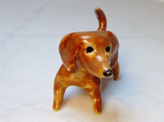 2 RED DACHSHUND Dog Puppy Set Ceramic Pottery Animal Miniature Figurine