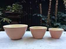 original vintage Hoffman pottery pink mixing bowls