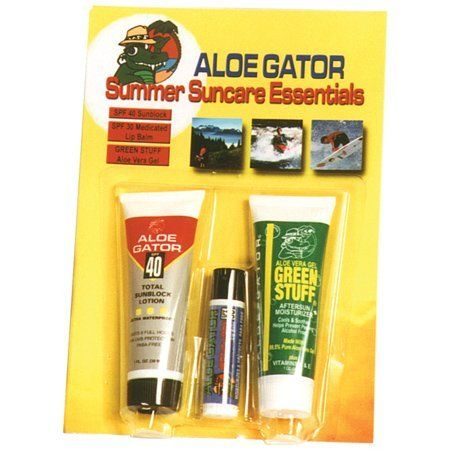 Aloe Gator Summer Combo Pack by Aloe Gator. $4.99. Contains 1 oz. Aloe Gator 40+ Gel, SPF 30 Medicated Lip Balm and 1 oz. Green Stuff. Your favorite Aloe Gator essentials pre-packaged and ready for whatever outdoor activity you choose. Aloe Gator Summer Combo Pack 3 Items  Your Favorite Aloe Gator Essentials - Prepackaged And Ready For Whatever Outdoor Activity You Choose! Summer Essentials Contains The Ultimate Suncare Protection Aloe Gator 40+ Gel, Spf 30 Medicated Lip Bal...