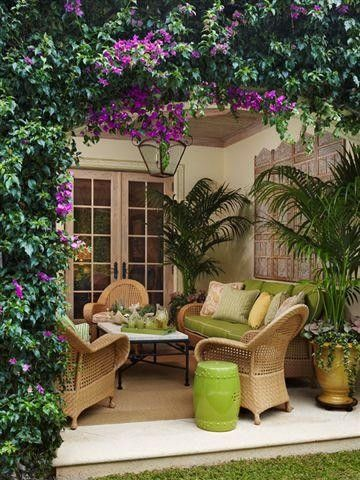 Can make this outside the French doors by just adding a bigger patio cover.   Want super dark purple bougainvillea