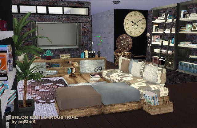 Sims 4 Sal N Estilo Industrial Pqsim4 Sims 4 Living