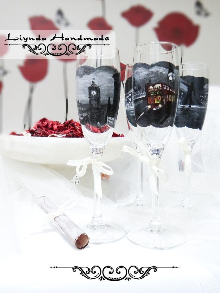 """Set pahare sticla pictate """"London inlove"""" - LA COMANDA (150 LEI la Liynda.breslo.ro)"""