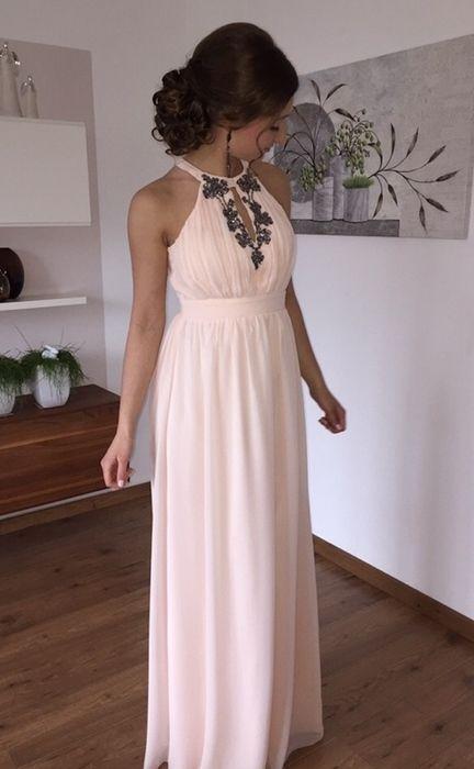 Wunderschönes nude farbenes Neckholder-Abendkleid - kleiderkreisel.de