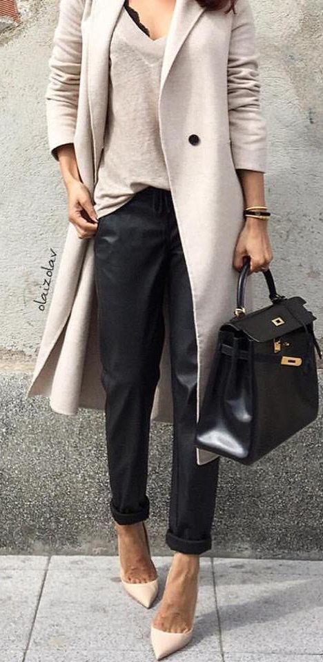 #fall #outfits women's gray coat