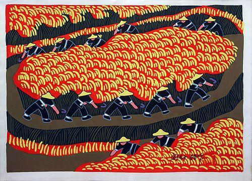 收割谷子 - 中国农民画