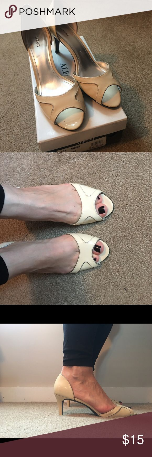 Alfani size 9.5 peep toe heels bone color Worn once! Only selling because the are too snug post baby.  Gorgeous bone color - photos don't do these justice.   Comes with original box.  Smoke free home.   Clearing out lots of shoes- take advantage of bundles! Alfani Shoes Heels
