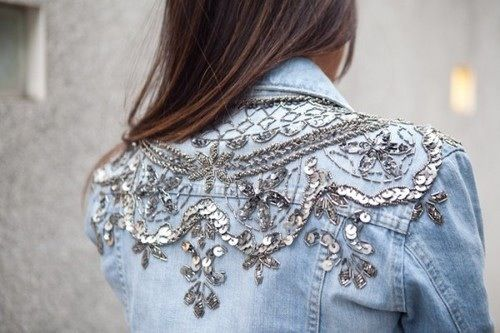 Embellishments on the back of a jeans jacket!! I ADORE!