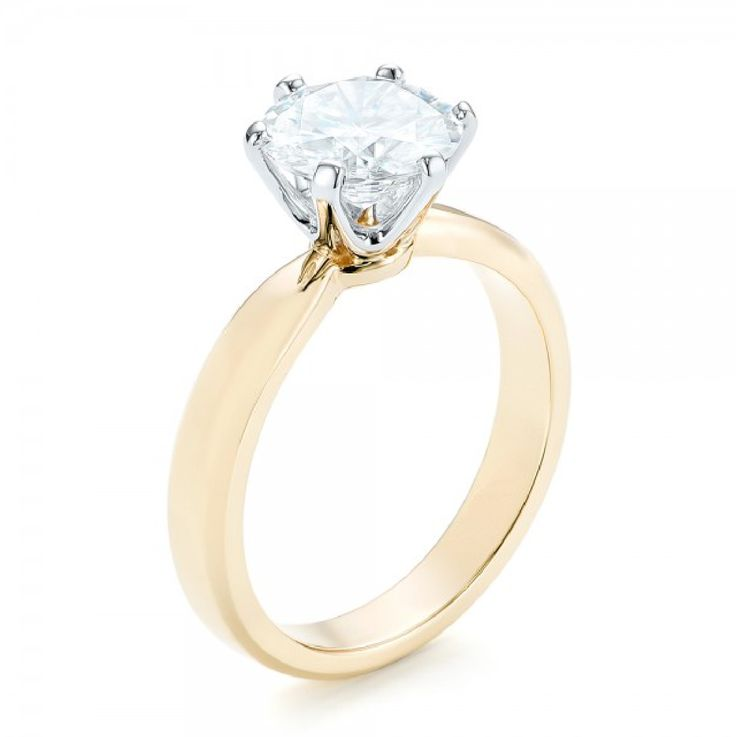 Round Cut Diamond Solitaire Ring 18K Yellow Gold