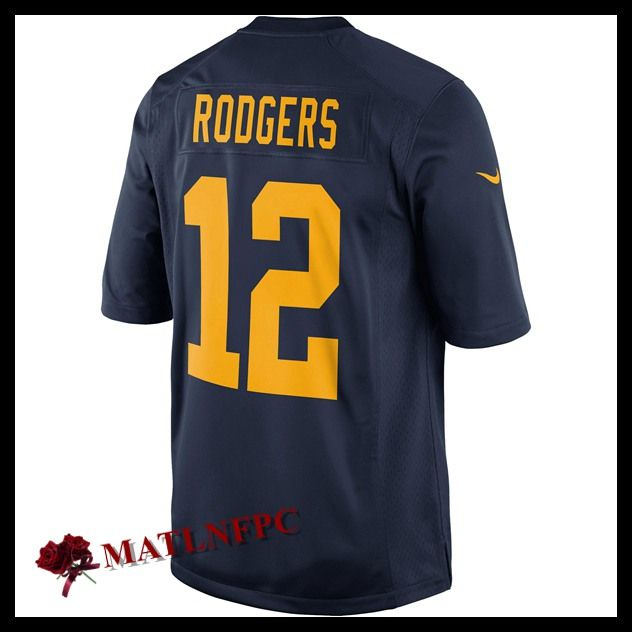 Maillot de NFL Green Bay Packers pas cher, Maillot du NFL Aaron Rodgers Green Bay Packers Bleu Marin Homme