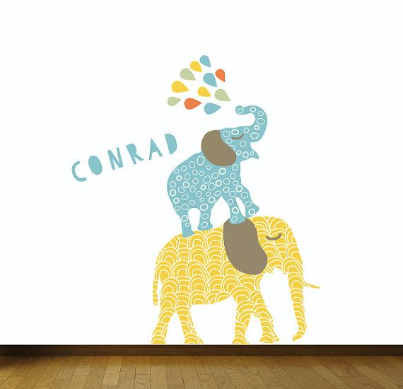 Elephant wall decal nursery elephant fabric wall decals for Elephant mural nursery