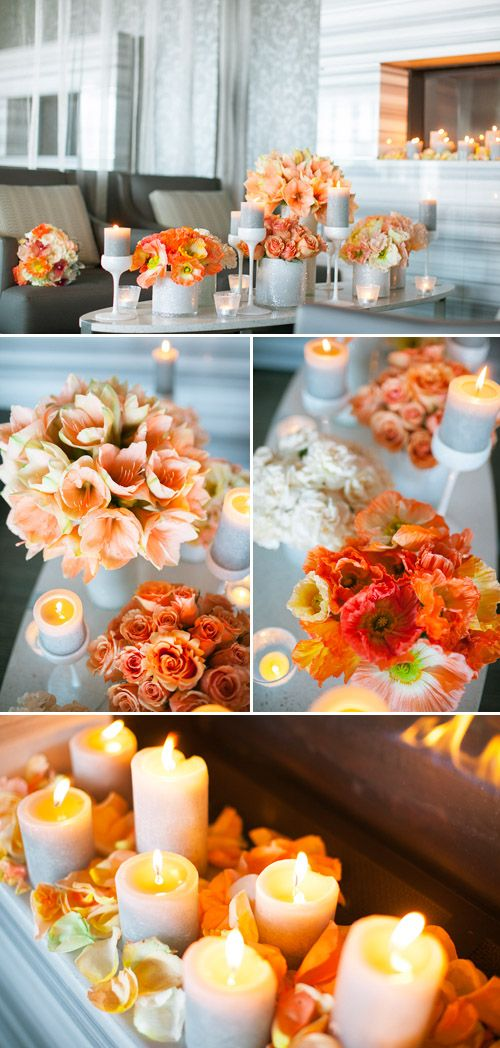 coral and orange chevron wedding decor and color ideas designed by Distinct Occasions, florals by Mimosa Flower Studio, photos by Tyler James Photography via JunebugWeddings.com