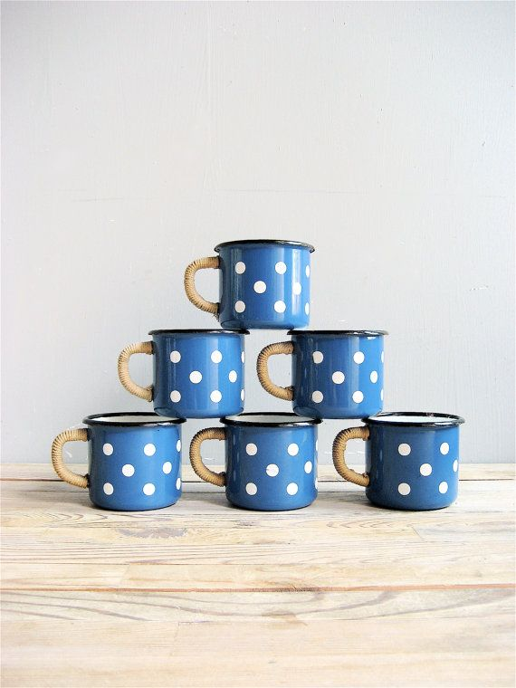 Set of six enamel polka dot blue mugs, with jute/rope covered handle. Lovely set in electric blue color with nautical feel. Good overall