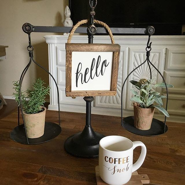 That Hello sign is so sweet! Thx for tagging our Balance Scales. Love it!  #homedecor