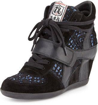 Ash Bowie Sequined Hidden-Wedge Sneaker Black/Blue #wedge
