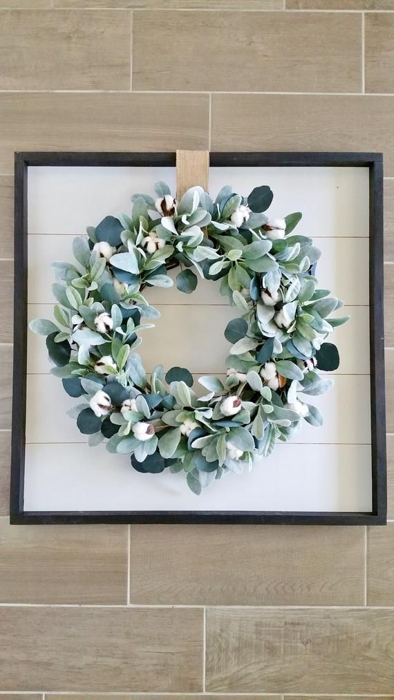 Shiplap Framed Lambs Ear, Cotton & Eucalyptus Wrea…