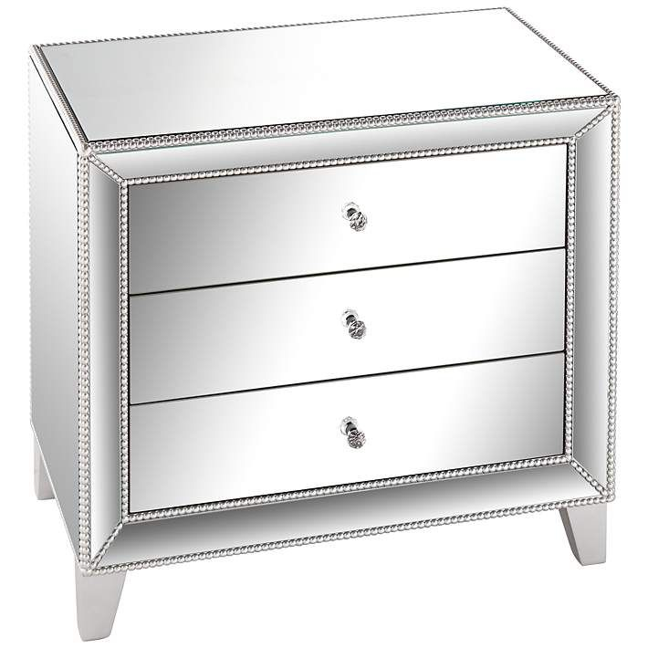 """Liza 3-Drawer 30"""" Wide Mirrored Accent Table"""
