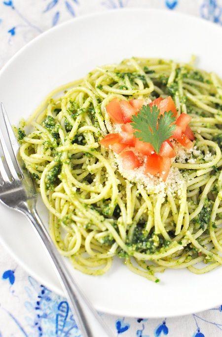 Superfast Spaghetti with Cilantro-Parsley Pesto & Tomato Recipe — Savor The Thyme - Food, Family and Lifestyle
