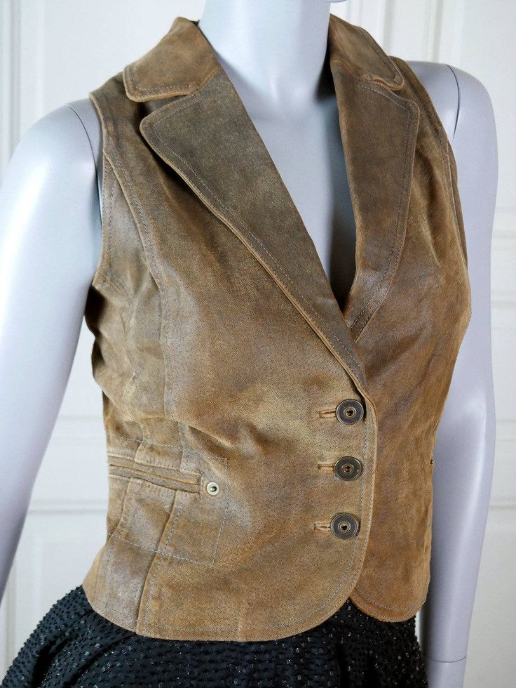 Vintage Tan Suede Vest, European Vintage Tan Leather Waistcoat, Beige Suede Leather Vest, Biker Chic, Biker Vest: Size 10 US, Size 14 UK by YouLookAmazing on Etsy