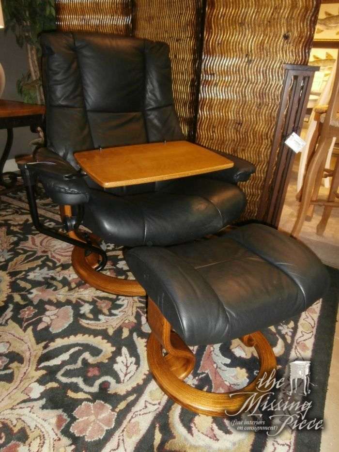 stressless top grain black leather chair and matching ottoman chair comes with large - Leather Chair And A Half