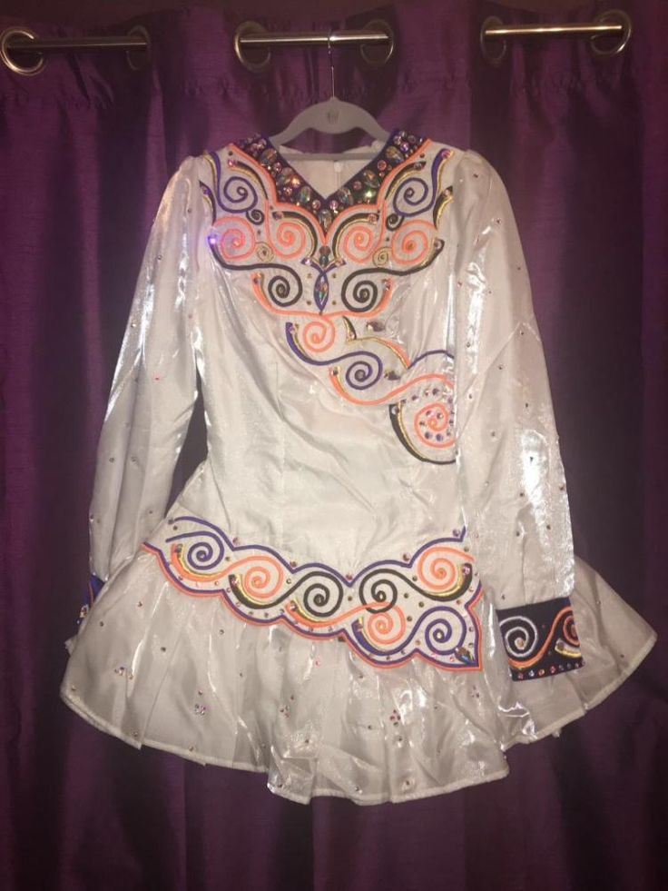 Glamorous White Kilkenny Creations Irish Dance Dress Solo Costume For Sale