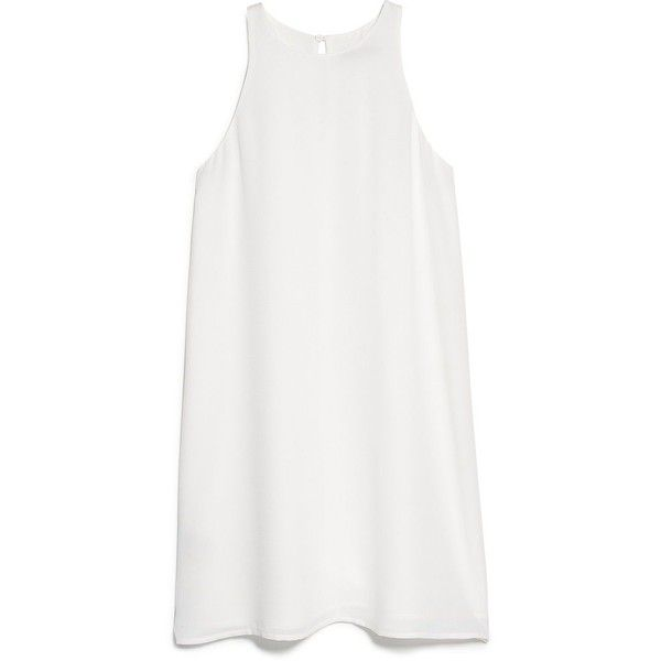 Mango Sleeveless dress featuring polyvore, women's fashion, clothing, dresses, tops, clothes - dresses, vestidos, off white, sale, champagne dress, round neck dress, sleeveless dress, keyhole dress and no sleeve dress