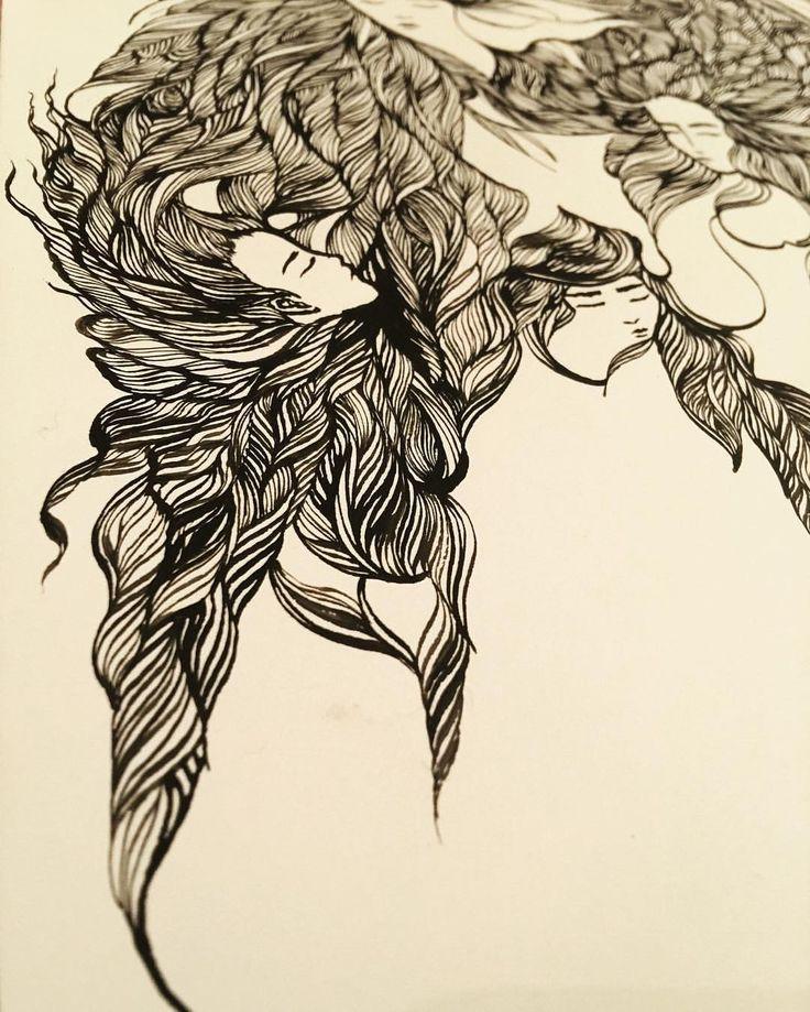 Ashya Lane-Spollen Locks and locks and locks... ☺️ #HappySigh (Day 6 in progress) #illustration #illustrator #art #artist #artlife #artblog #artblogger #ink #quill #blackandwhite #woman #women #hair #style #beauty #beautiful #girl #serenity #peace #dream #french #france #irish #ireland #vulnerable #sea #ocean #fantasy