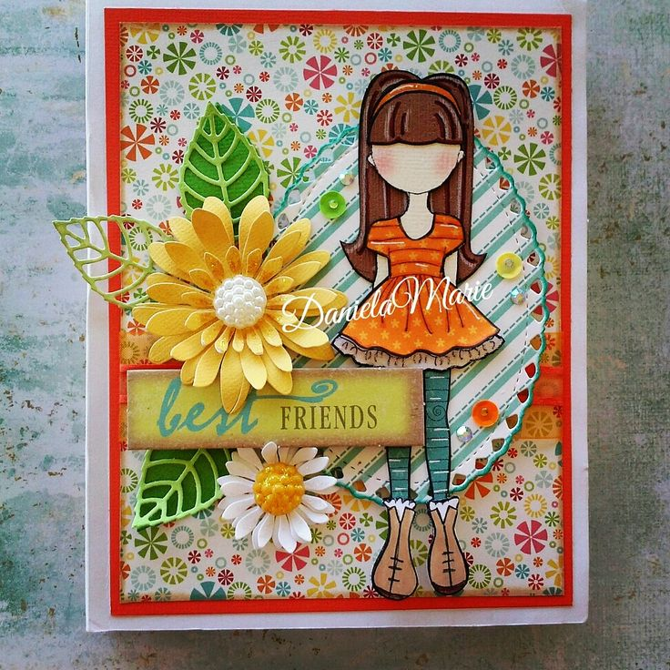 Card, Bee girl doll (altered) By Daniela Alvarado.
