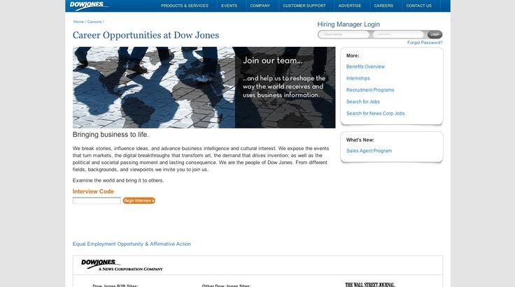 Dow jones hirevues dow jones event company job search