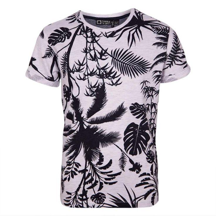 smart hvid melange t-shirt med sort print af palmeblade