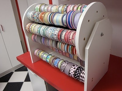 Perfect  ribbon organizing, easy to make if you have the tools. Easy to add a set of legs on each side and make this a double with one on top or sit it upright and add another on top, oh the possibilities.