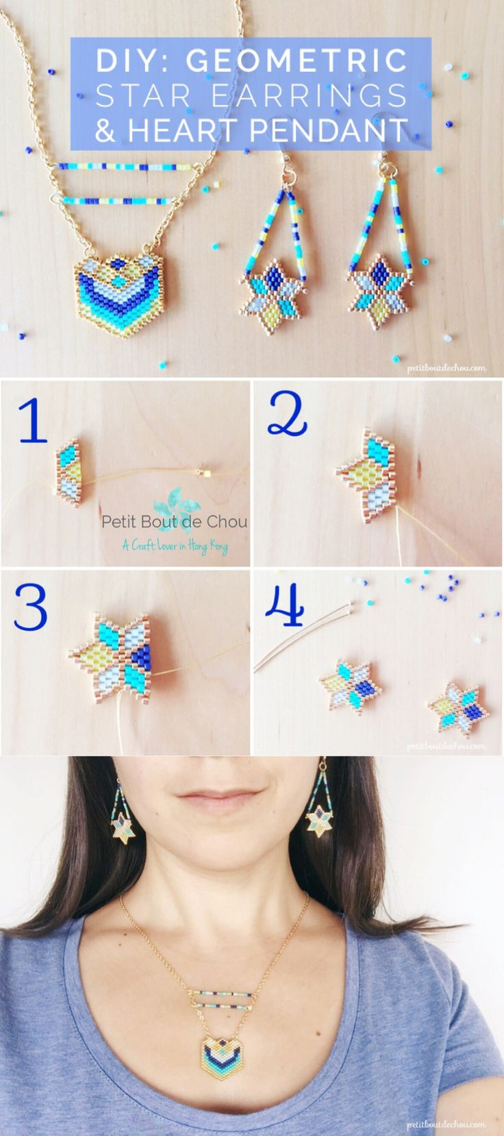Learn how to make these stunning geometric star earrings and heart pendant set with miyuki delica beads following this step by step tutorial with free pattern.