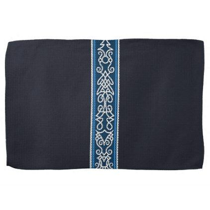 Viking Pattern Blue Hand Towel - blue gifts style giftidea diy cyo