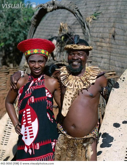 Respecting Culture Zulu Man and Woman Dressed in Traditional Costume Kwa Zulu Natal South ...