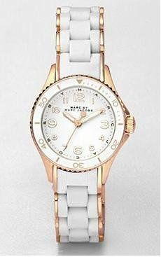 Marc by Marc Jacobs MBM2563 Rock Watch Marc by Marc Jacobs. $242.00. Marc Jacobs MBM2563 Women's Rock White Silicone Wrapped Rose Gold Tone Stainless Steel Bracelet White Dial Watch. Save 12%!