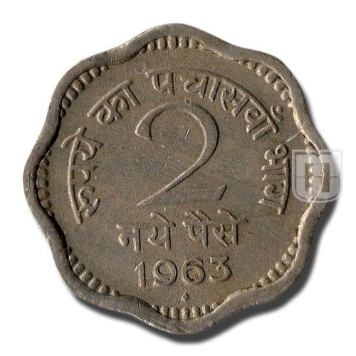 2 Naye paise | Coins of Republic of India - Decimal Coinage | Ruler / Authority : Government Of India | Denomination : 2 Naye paise | Metal : Copper-Nickel | Weight (gm)	: 3 | Size (mm) : 16 | Shape : Scalloped | Issued Year : 1963 | Minting Technique : Die struck | Mint : Mumbai / Bombay | Obverse Description : National emblem. भारत and India on each side |