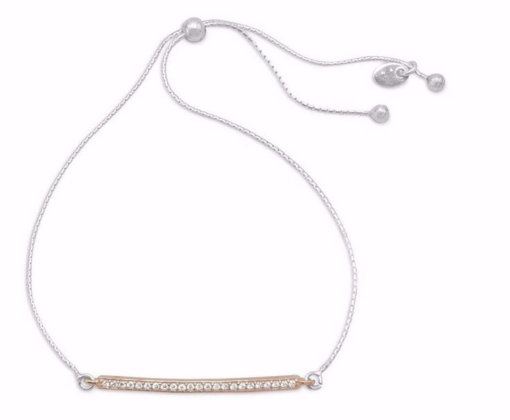 New Two Tone CZ Bar Friendship Bolo Bracelet Adjustable 925 Sterling Silver  #Unbranded #BarFriendshipBracelet