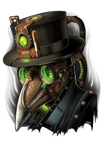 Bird Mask - Steampunk Temporary Tattoo