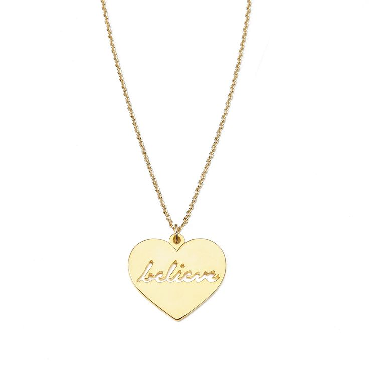"""Believe necklace - available in gold and silver. Get 25% off this necklace with code """"foxypin"""" http://www.foxyoriginals.com/Believe-Necklace-in-Gold.html  Tags: gold necklace, believe, follow your heart, heart jewelry"""
