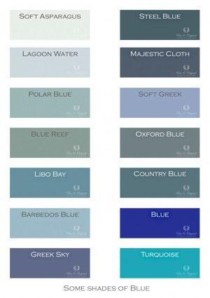 Een paar kleuren uit het totaal van #pureandoriginal kleuren geselecteerd op het thema Blauw.