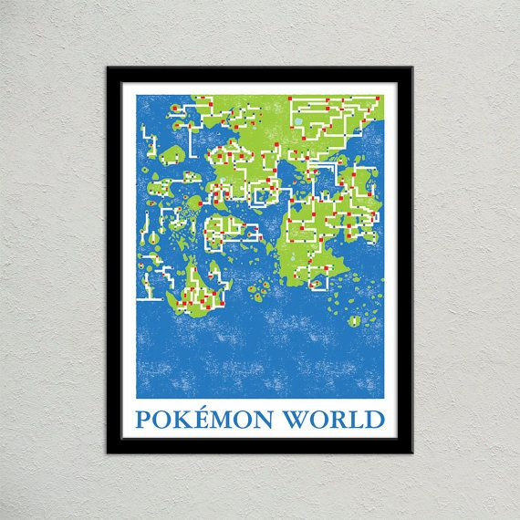 Pokemon World Map Print | Video Game World Map Poster | Pokemon Universe Map…