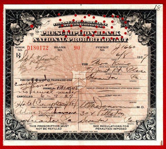 PROHIBITION. Vino WINE Prescription. Cellar Scranton PA. Doctor Donovan License Antique Irish Hotel Drug Shop 6/9 1927. Medicine Pharmacy on Etsy.