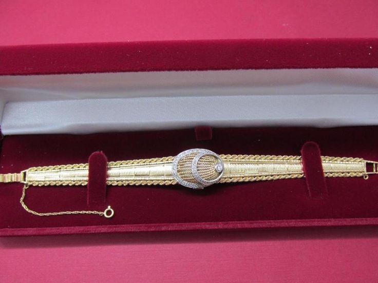 Ladies Vintage 14k Solid Yellow Gold 17 Jewel Diamond Geneva Watch Bracelet #Geneva17Jewel #Dress