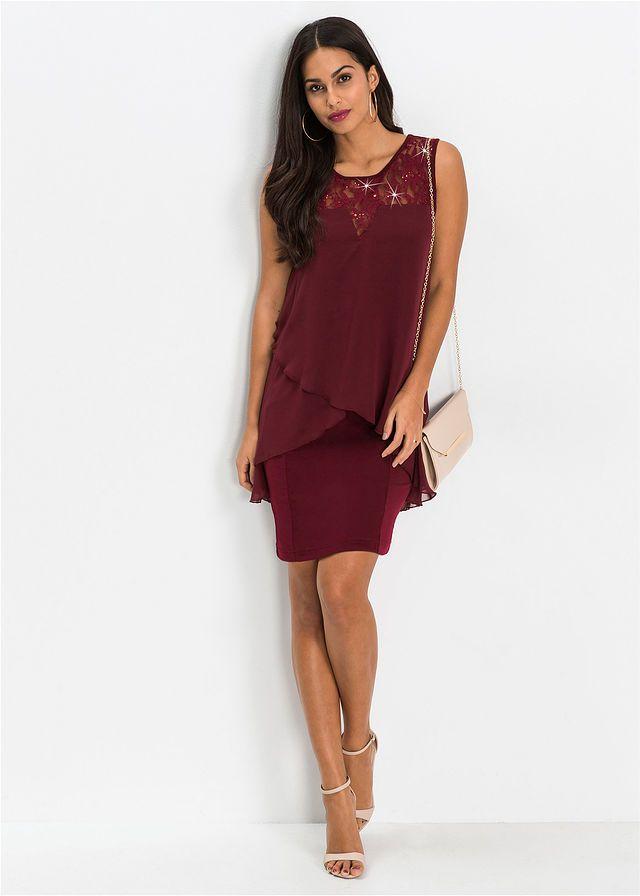 Šaty z džerseju a šifónu • tmavočervená • bonprix obchod  f9345647599