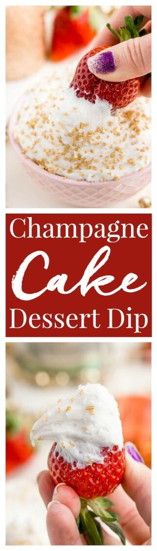 3-Ingredient Champagne Cake Dip is an easy no-bake dessert to whip together for New Year's Eve, Valentine's Day, or bridal showers.  via @sugarandsoulco