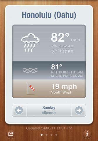 "weather app, sort of ""infographic"" display."