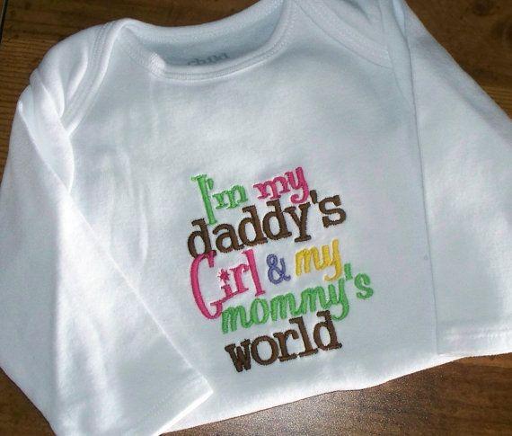 Baby Girl Onesie / Daddy's Girl Mommy's World by LittleTexasBabes, $20.00