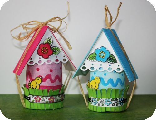 Décoration d'intérieur/objets personnalisés : Boîte pour Pâques avec du matériel de récupération » fiskarettes