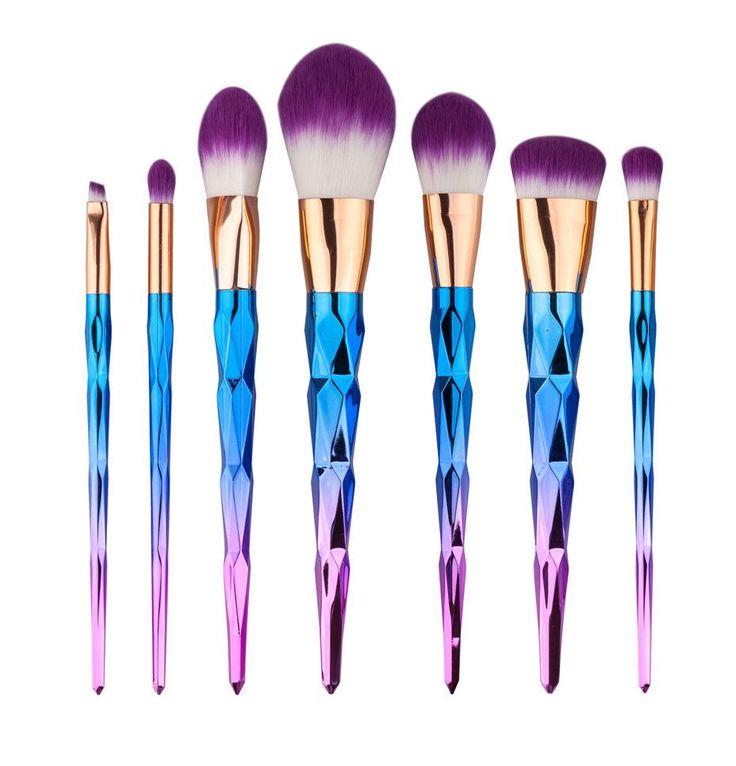 Unicorn Horn Ombre Makeup Brush Set in Purple and Pink – The Bullish Store - #getbullish #makeup #brushset #unicorn #horn