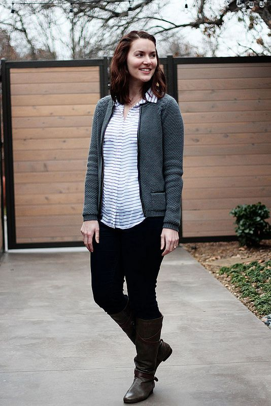 Style: black and white blouse with gray cardigan